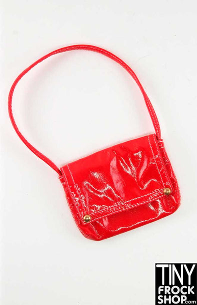 16 Inch Doll Red Shiny Vinyl Shoulder Bag