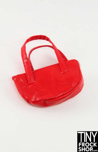 16 Inch Doll Red Vinyl Half Moon Handbag