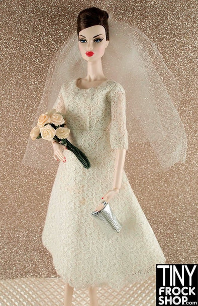 Barbie Simple Vintage Lace And Silver Dress With Veil