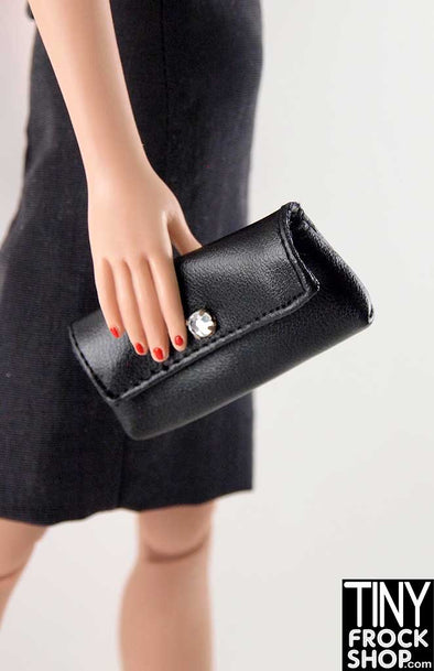 16 Inch Doll Simple Vinyl Black Clutch With Rhinestone