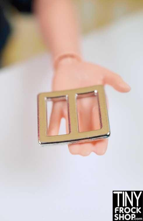 10-11MM - Barbie Mini Metal Square Center Bar Buckle -
