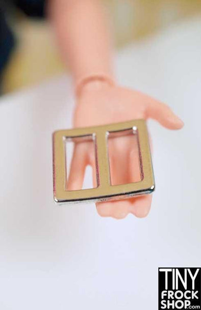 10-11MM - Barbie Mini Metal Square Center Bar Buckle - - Tiny Frock Shop