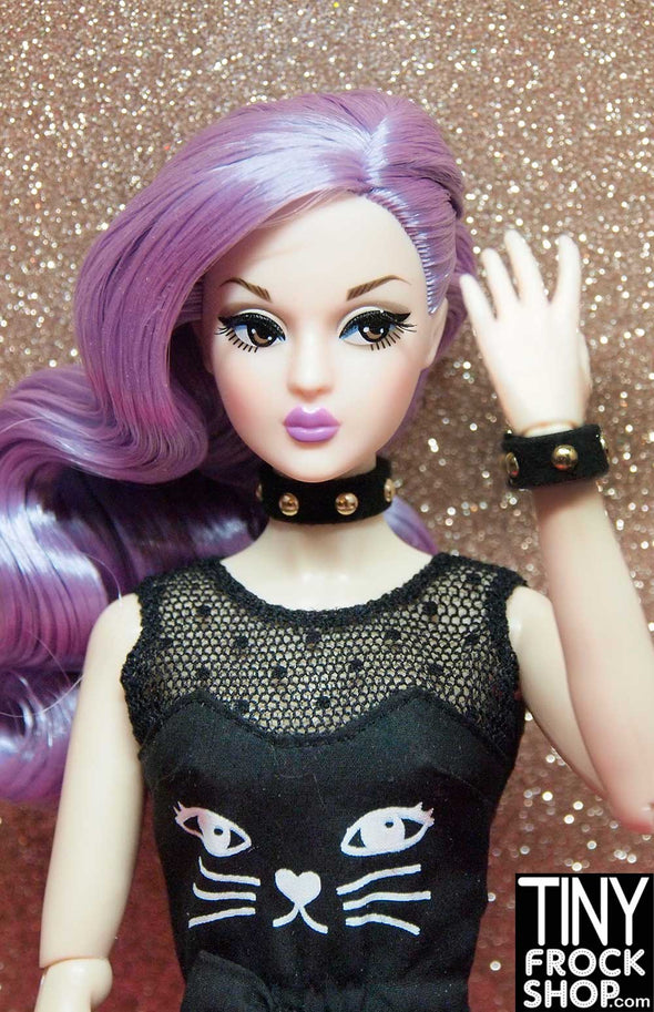 Barbie Sueded Studded Choker and Bracelet Set