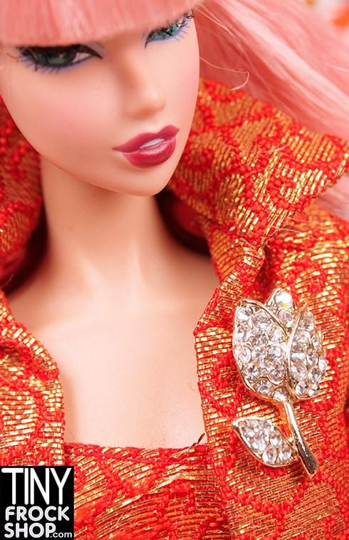Barbie Gold Tulip Rhinestone Mini Pin