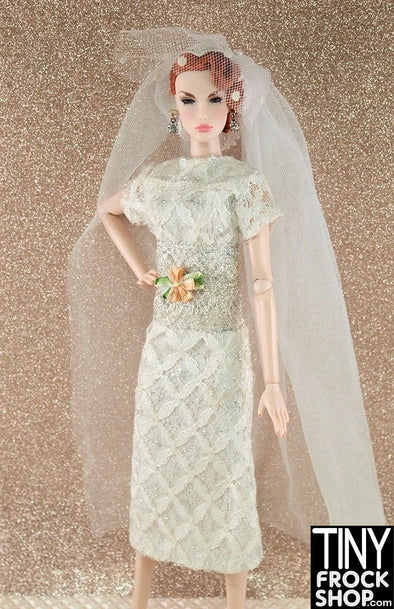 Barbie Vintage Lace And Silver Slim Wedding Dress With Veil Hat