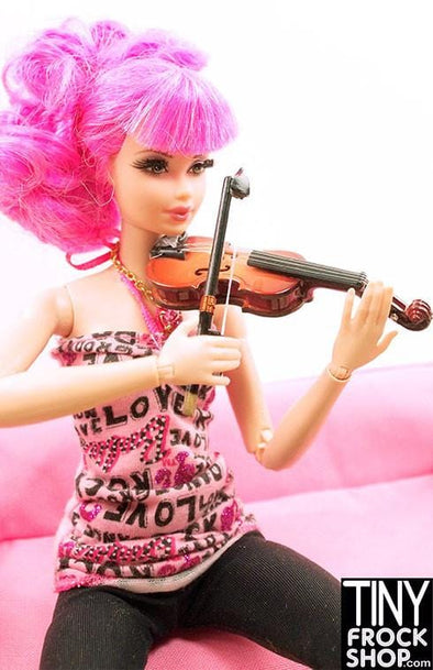 Barbie Wood Violin with Velvet Lined Case and Bow - TinyFrockShop.com