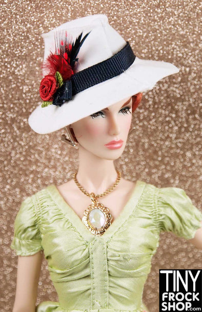 Barbie White Fedora With Feathers And Rose by Ginger Baldwin