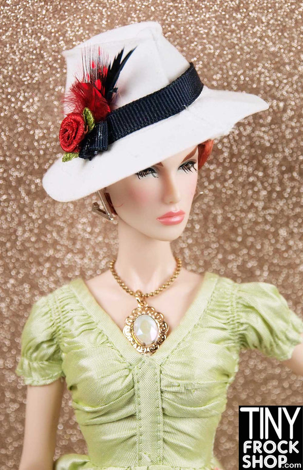 Barbie White Fedora With Feathers And Rose by Ginger Baldwin - TinyFrockShop.com