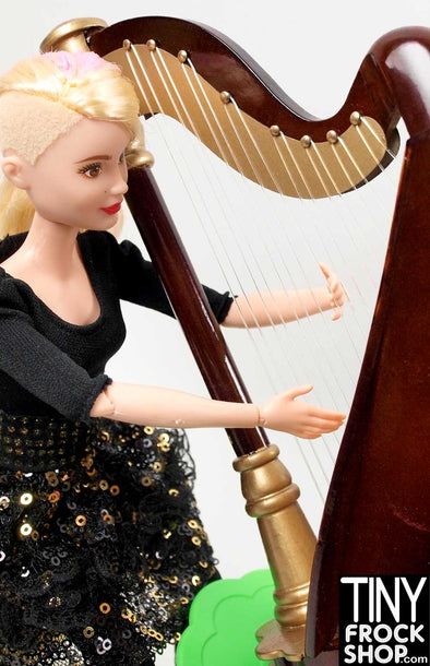 Barbie Wood Hand Crafted Harp with Case!