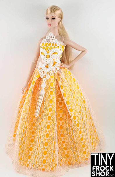 Barbie Yellow And White Lace Ballgown