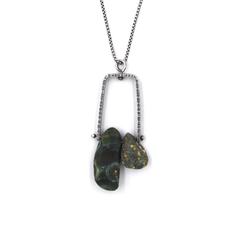 Climb Pendant (Long) in Ocean Jasper