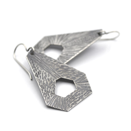 Hammered Hexagon Earrings
