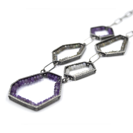 Five Segment Geode Necklace in Amethyst