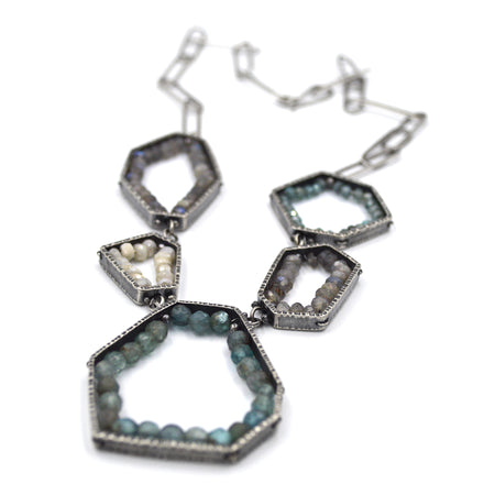 Five Segment Geode Necklace in Light Apatite