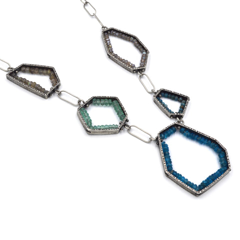 Five Segment Geode Necklace in Apatite