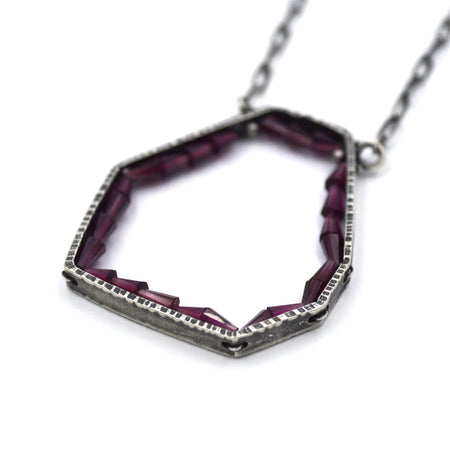 Hexagon Geode Necklace in Garnet