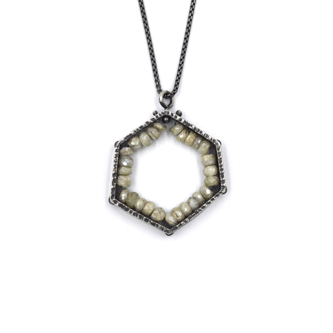 Hexagon Pendant (Medium) in White Sapphire