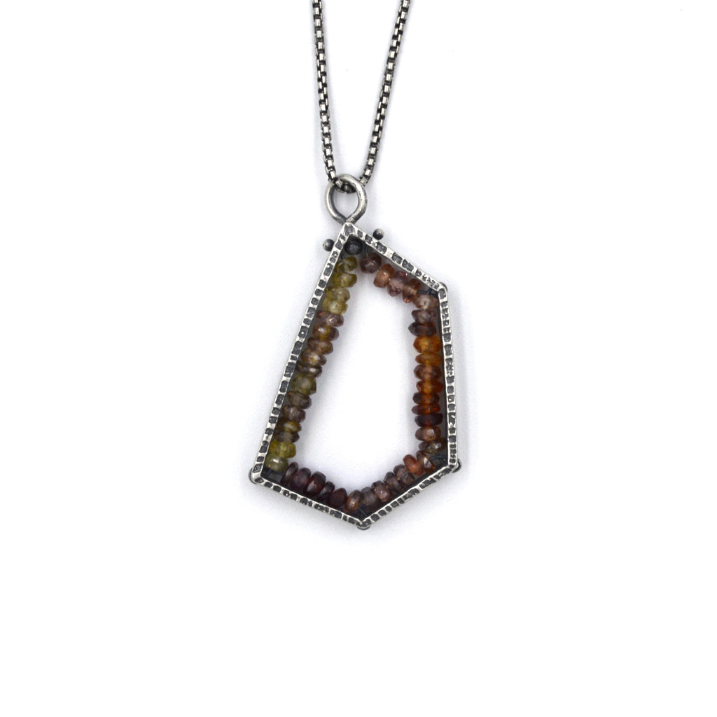 Pentagon Pendant (Medium) in Zircon and Garnet