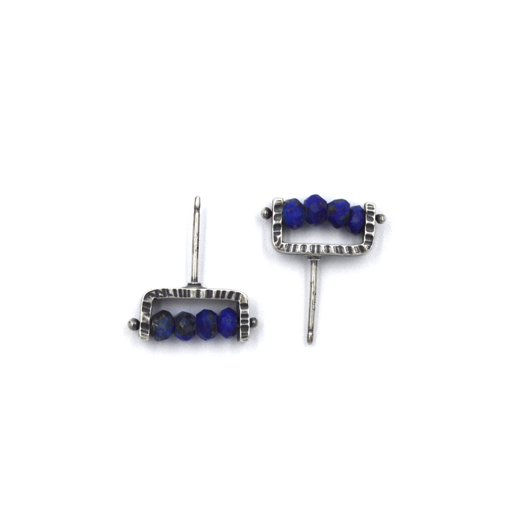 Linear Post Earrings in Lapis Lazuli