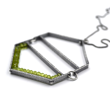 Hexagon Hinge Pendant in Peridot