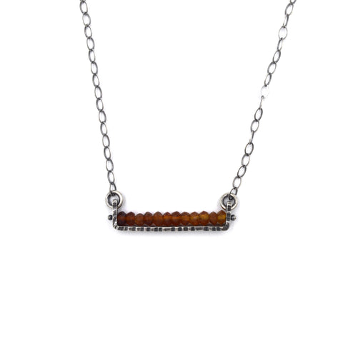 Linear Necklace (Short) in Dark Hessonite Garnet