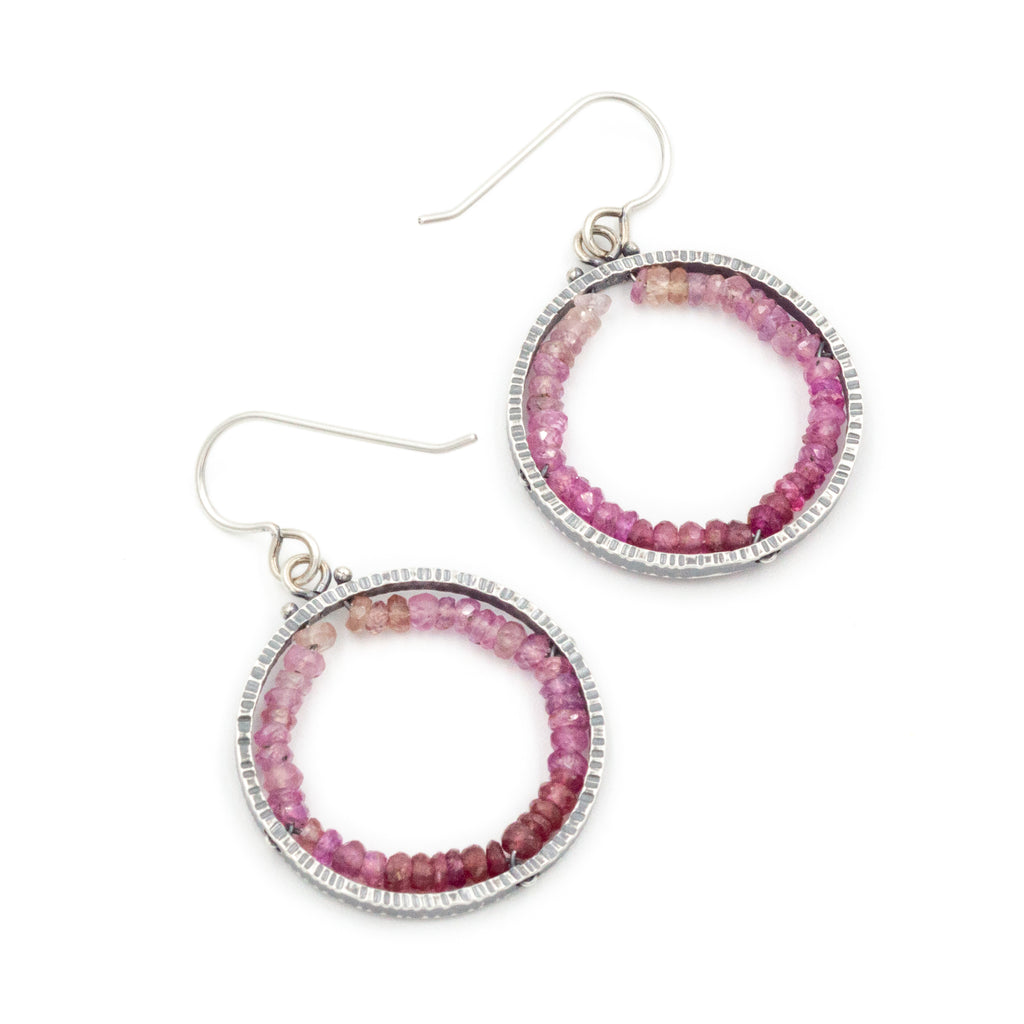Circle Geode Earrings (Medium) in Ruby