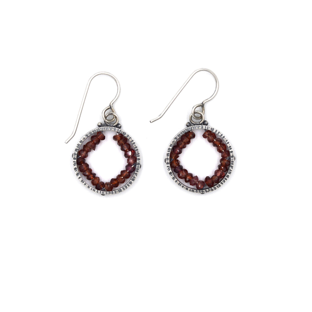 Circle Geode Earrings (Small) in Garnet