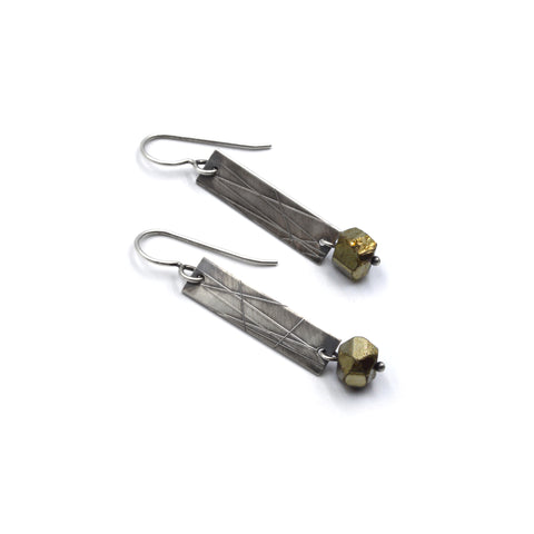 Strip Earrings (Long) in Pyrite