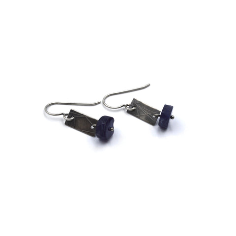 Strip Earrings (Short) in Iolite