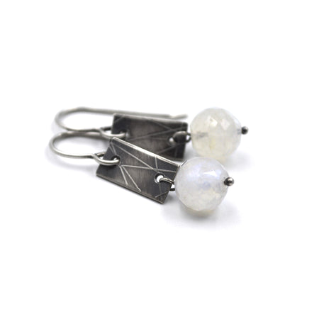 Strip Earrings (Short) in Rainbow Moonstone