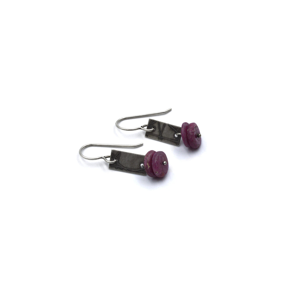 Strip Earrings (Short) in Ruby