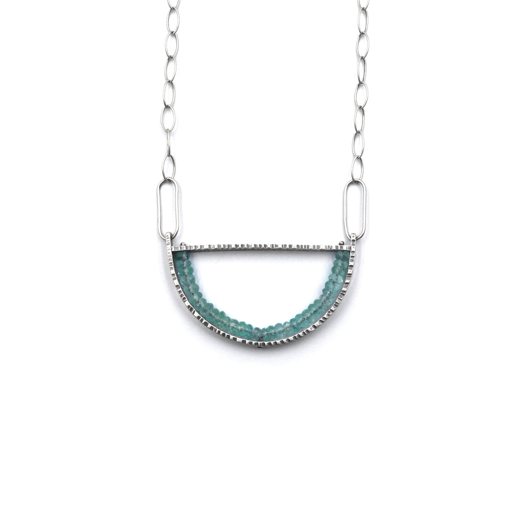 Oval Geode Necklace in Apatite