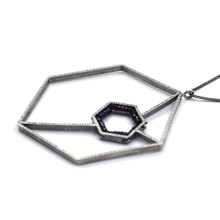 Double Hexagon Geode Necklace III