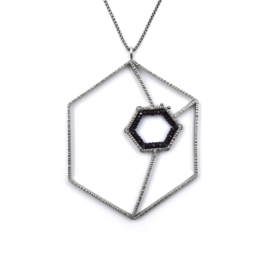 Double Hexagon Geode Pendant