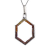 Hexagon Fragment Pendant in Zircon & Garnet