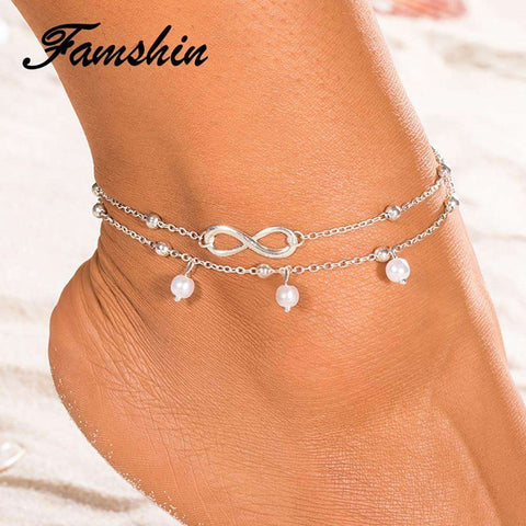 6d1fc60f8 FAMSHIN Hot Summer Multilayer Beach Pearl Anklet Infinite Foot Jewelry  Anklets ankle Bracelets cheville Boho Foot
