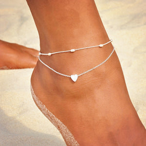 46cf3443cc KISS WIFE Heart Female Anklets Barefoot Crochet Sandals Foot Jewelry Leg  New Anklets On Foot Ankle