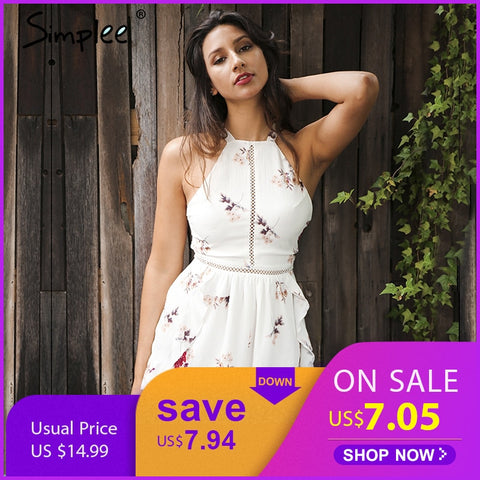 b07e8636af52 Simplee Hollow out women jumpsuit romper Flower print chiffon sexy romper  summer overalls Ruffle backless jumpsuit