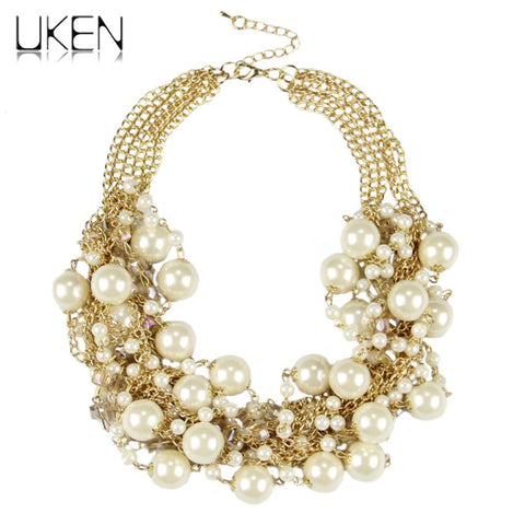 UKEN Fashion Women Maxi Necklaces Gold Color Chain Imitation Pearls Beads  Crystal Collar Chokers Chunky Necklaces 40f55efc9b7b