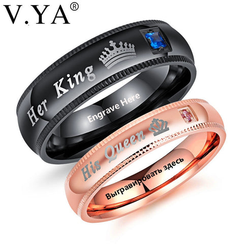 85f99d3466 V.YA Promise Couple Rings Trendy Her King & His Queen Custom Crytal Stone  Crown