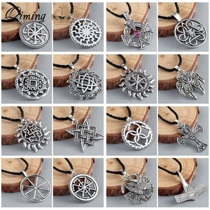 a86fe517a8559 Viking Valknut Pendant Men s Necklace Women Round Pagan Religious Male Man  Slavic Silver Steampunk Jewelry Tibetan