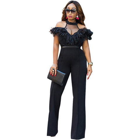 59c69c2bca8 Wide Leg Jumpsuits Halter Off Shoulder Elegant Lace Ruffles Jumpsuit  Backless Hollow Out Sexy Rompers Womens