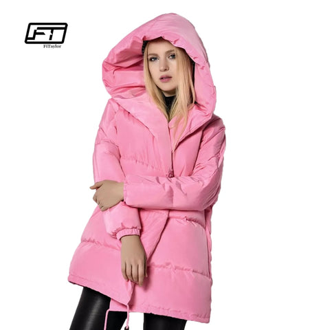 3065a3a7380 Winter Jackets Women 90% White Duck Down Parkas Loose Fit Plus Size Hooded  Coats Medium