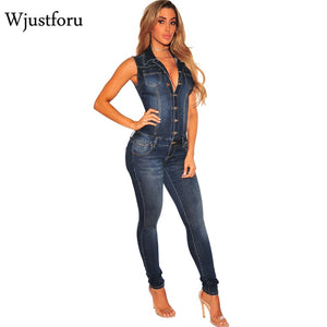 ae556a7adaf Wjustforu Summer Patchwork Denim Jumpsuit Sexy Bodycon Sleeveless Full Body  Feminino Elegant Button Rompers Womens Jumpsuits