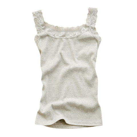 fb0247ed236f Women Sexy Lace Tank Tops Vest T-shirt Sleeveless Temperament Fashion  O-Neck Camisole
