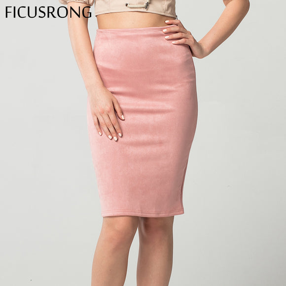 06fd14ce6aa Women Skirts Suede Solid Pencil Skirt Female Autumn Winter High Waist  Bodycon Vintage Split Thick Stretchy