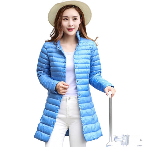 1240b4ec302a4 Women Winter Coat 2018 New Ultra Light 90% White Duck Down Jackets Single  Breasted Slim