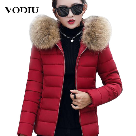dcaed685a6fe7 Women Winter Coats Short Fur Collar Plus Size Parka Hooded Slim Korean  Jacket For Female Cotton