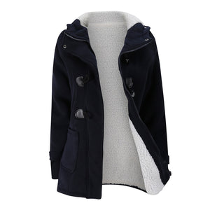04383426bb14 Women s Fashion Trench Coat Autumn Thick Lining Winter Jacket Overcoat  Female Casual Long Hooded Coat Zipper