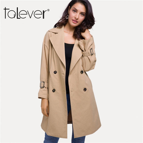 0a40be605dc Women s Windbreaker Spring Autumn 2018 Female Classic Solid Color Double  Breasted Long Trench Coat Business Outerwear